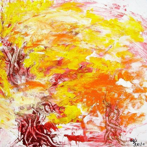 waldraut hool-wolf, September im Wald, Landschaft: Herbst, Natur: Wald, Gegenwartskunst