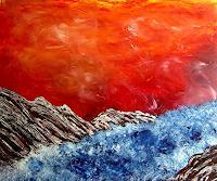 waldraut-hool-wolf-Abstraktes-Landschaft-See-Meer-Gegenwartskunst-Neo-Expressionismus