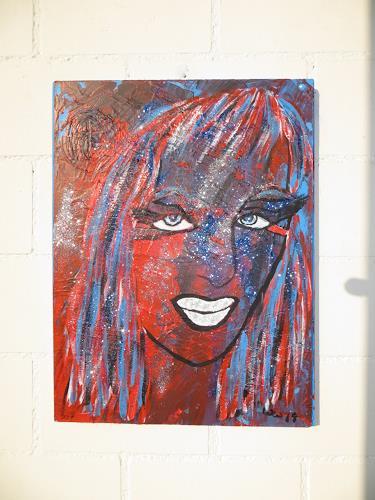 waldraut hool-wolf, lady in blue red, Menschen: Gesichter, Menschen: Frau, Gegenwartskunst