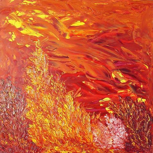 waldraut hool-wolf, rossa albero, Abstraktes, Abstraktes, Neo-Expressionismus