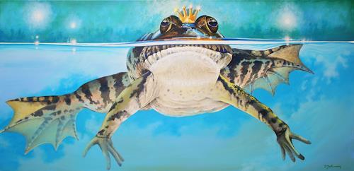 Wandmaler, Froschkönig auf Blau, Dekoratives, Märchen, Fotorealismus, Expressionismus