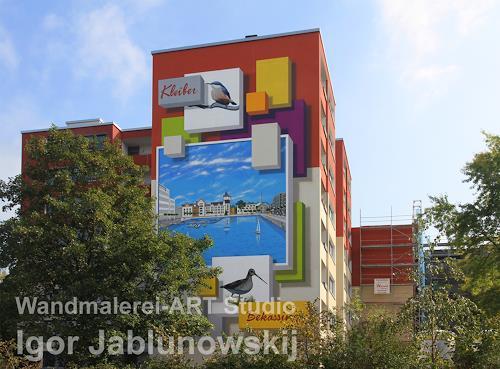 Wandmaler, Fassadenmalerei, Giebelwand eines 8-Stöckigen Miethauses, Bauten: Hochhaus, Diverses, Kunst am Bau