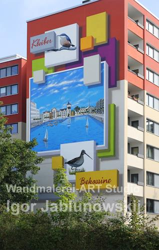 Wandmaler, Fassadenmalerei, Giebelwand eines 8-Stöckigen Miethauses, Bauten: Hochhaus, Diverse Romantik, Gegenwartskunst