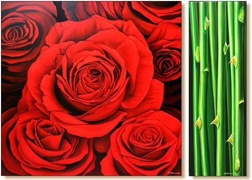 Wandmaler, Rose Rot-Schwarz, Pflanzen: Blumen, Dekoratives, Fotorealismus, Expressionismus