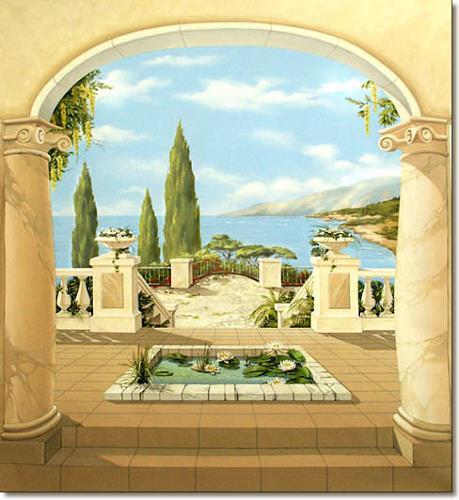 mediterrane wandmalerei illusionsmalerei trompe l oeil malerei von wandmaler natur. Black Bedroom Furniture Sets. Home Design Ideas