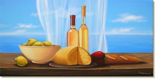 Wandmaler, Stillleben mit Käse – 2, Stilleben, Wohnen: Zimmer, Realismus