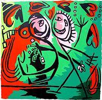 raphael-perez-Menschen-Paare-Moderne-Naive-Kunst