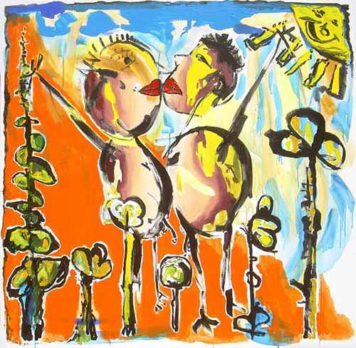 raphael perez, naive painting, Gefühle: Freude, Gefühle: Liebe, Naive Kunst