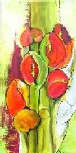 Helga Sachse, Sechs Blüten, Abstraktes, Pflanzen: Blumen, Moderne