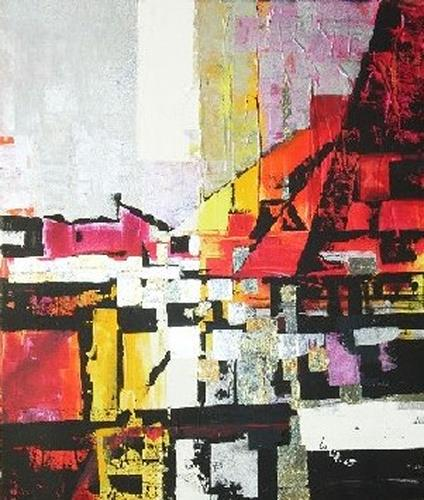Helga Sachse, Sommerglut, Abstraktes, Landschaft: Sommer