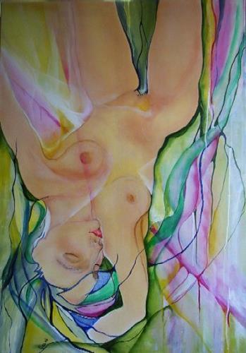 Helga Sachse, kopfüber, Akt/Erotik: Akt Frau, Menschen: Frau, Abstrakte Kunst, Abstrakter Expressionismus