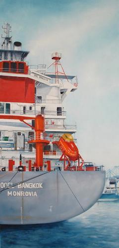 Beate Biebricher, Schiffshälfte, Industrie, Verkehr: Schiff, Gegenwartskunst