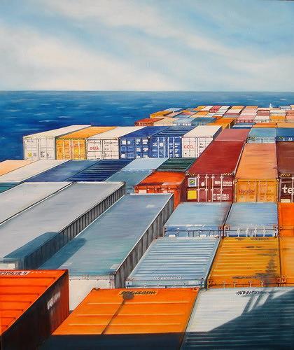Beate Biebricher, Blick auf die Ladung, Industrie, Verkehr: Schiff, Gegenwartskunst, Abstrakter Expressionismus
