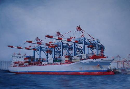 Beate Biebricher, Beladung der Maersk Plymouth, Industrie, Verkehr: Schiff, Gegenwartskunst