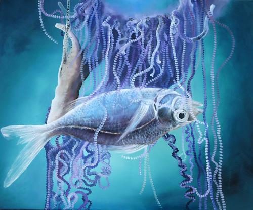 Beate Biebricher, Tod zwischen Perlenschnüren, Tiere: Wasser, Diverses, Gegenwartskunst, Abstrakter Expressionismus