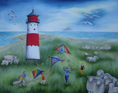 Beate Biebricher, Leuchtturm, Freizeit, Landschaft: Strand, Gegenwartskunst