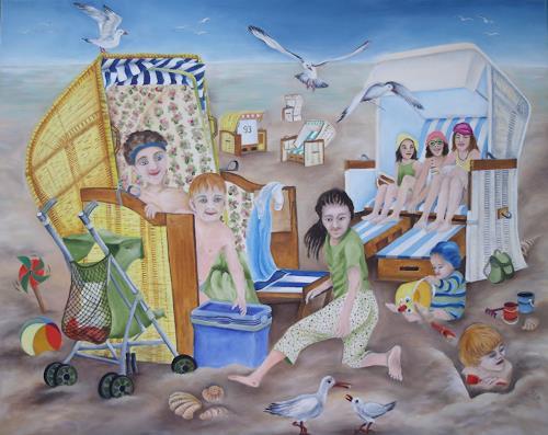 Beate Biebricher, Strandkörbe, Landschaft: Strand, Menschen: Kinder, Gegenwartskunst, Expressionismus