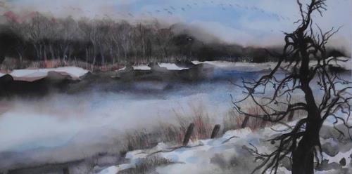 Beate Biebricher, Apfelbaum an der Moorbracke, Landschaft: Winter, Landschaft: See/Meer, Gegenwartskunst, Expressionismus
