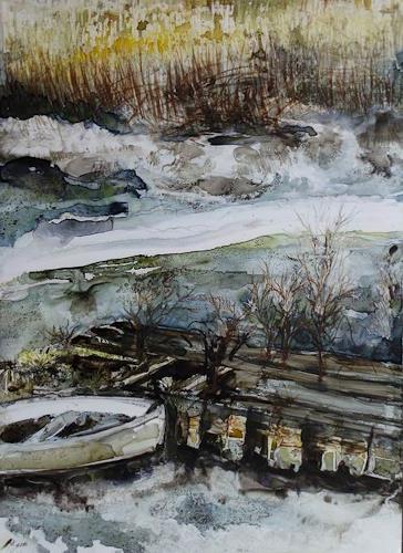 Beate Biebricher, Hafen, Dornbusch, Landschaft: Winter, Gegenwartskunst, Expressionismus