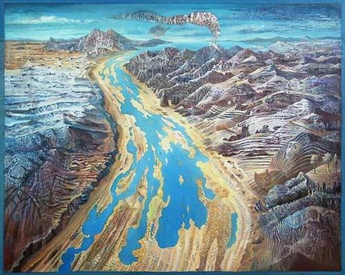 Cornelius Fraenkel, Figuren im Fluss, Landschaft: Berge, Fantasie, Gegenwartskunst