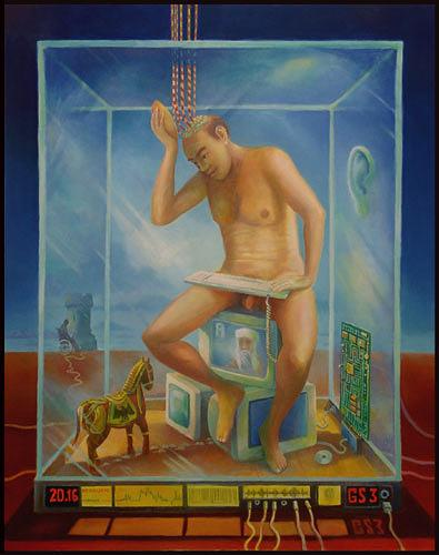 Cornelius Fraenkel, der gläserne Mensch, Gesellschaft, Technik, Neuzeit, Abstrakter Expressionismus