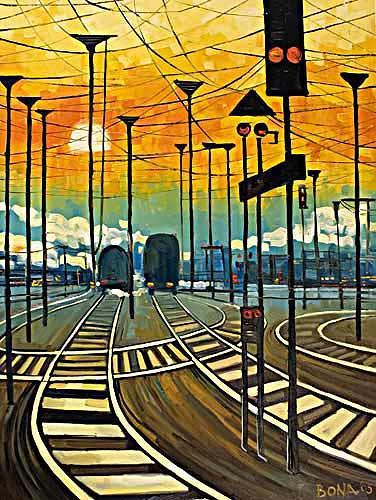 Bona, Long way home, Landschaft: Ebene, Verkehr: Bahn, Neo-Expressionismus, Expressionismus