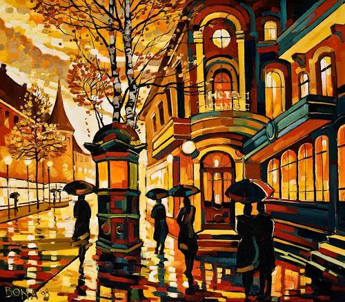 Bona, Magic Night, Landschaft: Herbst, Architektur, Expressionismus, Moderne
