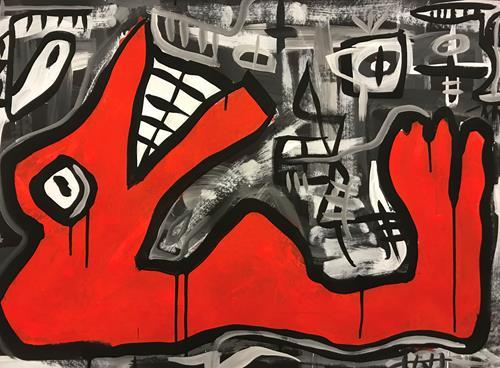 Andi Luzi, O/T, Skurril, Symbol, Art Brut, Abstrakter Expressionismus