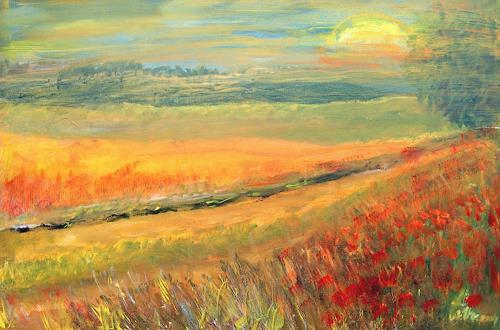 Agnes Vonhoegen, Sommerlandschaft, Landschaft: Sommer, Natur: Erde, Gegenwartskunst, Expressionismus
