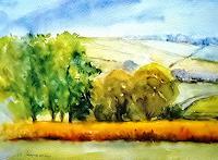 Agnes-Vonhoegen-Landschaft-Sommer-Pflanzen-Baeume-Gegenwartskunst--Gegenwartskunst-