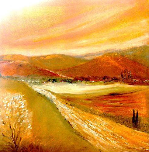Agnes Vonhoegen, Hügellandschaft, Landschaft: Berge, Natur: Erde, Gegenwartskunst, Expressionismus