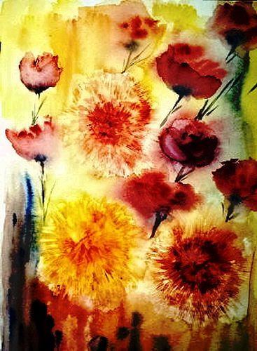 Agnes Vonhoegen, Flockenblumen, Pflanzen: Blumen, Konkrete Kunst