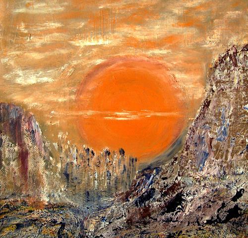 Agnes Vonhoegen, Die Sonne,die lebensspendende Kraft, Gefühle: Geborgenheit, Abstraktes, Gegenwartskunst, Expressionismus