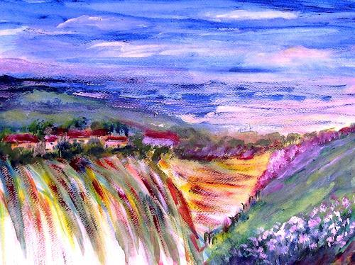 Agnes Vonhoegen, Hügellandschaft, Landschaft: Hügel, Fantasie, Gegenwartskunst