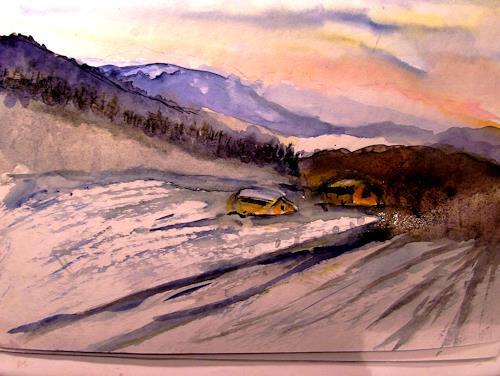 Agnes Vonhoegen, WINTRLANDSCHAFT, Landschaft: Winter, Landschaft: Berge, Gegenwartskunst