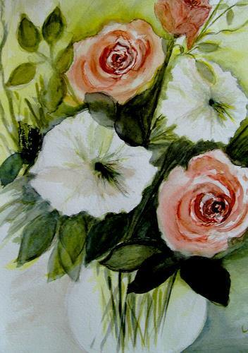 Agnes Vonhoegen, Blumen in Vase, Pflanzen: Blumen, Gegenwartskunst