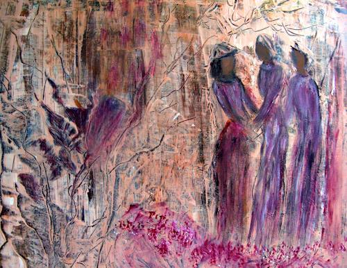 Agnes Vonhoegen, Begegnung im Park  II, Abstraktes, Menschen: Gruppe, Gegenwartskunst, Expressionismus