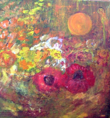 Agnes Vonhoegen, Blühender Garten, Pflanzen: Blumen, Freizeit, Gegenwartskunst, Expressionismus