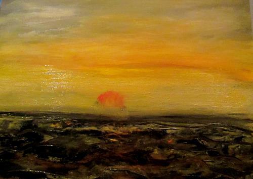 Agnes Vonhoegen, aufgewühltes Meer, Landschaft: See/Meer, Landschaft: Hügel, Gegenwartskunst