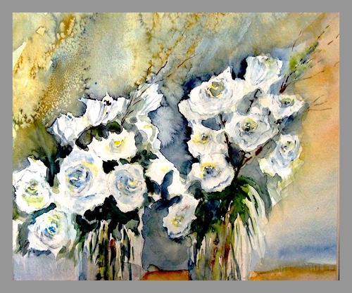Agnes Vonhoegen, Weiße Rosen, Pflanzen: Blumen, Landschaft: Sommer, Expressionismus
