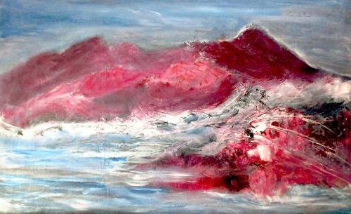 Agnes Vonhoegen, Berge von Wasser umspült, Landschaft: Berge, Natur: Gestein, Abstrakte Kunst, Expressionismus