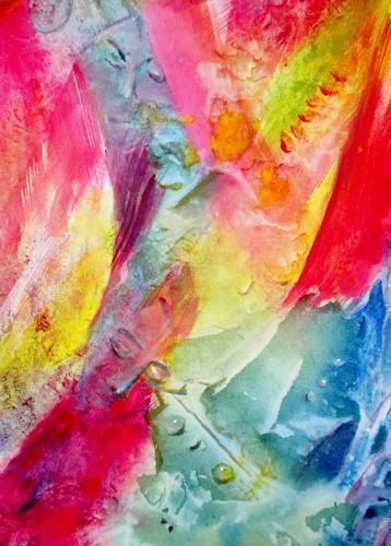 Agnes Vonhoegen, in einer Fantsiewelt, Abstraktes, Fantasie, Abstrakte Kunst