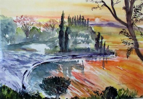 Agnes Vonhoegen, am  Gardasee, Landschaft: Sommer, Natur, Gegenwartskunst, Expressionismus