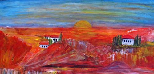 Agnes Vonhoegen, Toscana, Landschaft: Berge, Natur, Gegenwartskunst