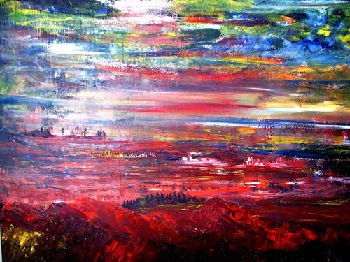 Agnes Vonhoegen, o. T., Landschaft, Landschaft: Sommer, Gegenwartskunst, Abstrakter Expressionismus