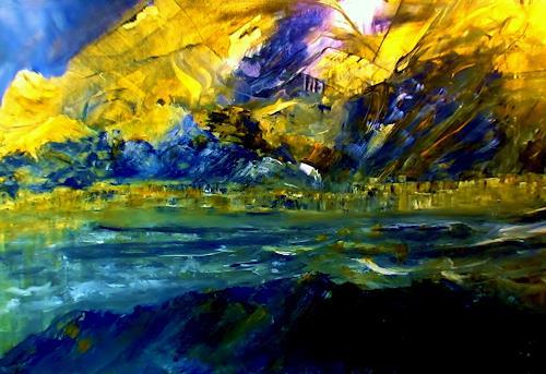 Agnes Vonhoegen, Landschaft im Sonnenlicht, Fantasie, Abstrakte Kunst, Abstrakter Expressionismus