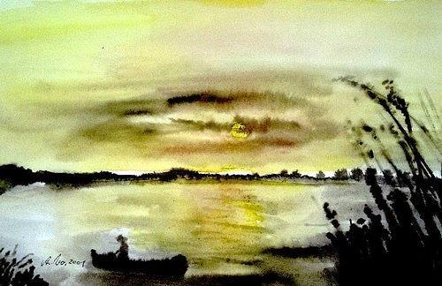 Agnes Vonhoegen, Abendstimmung am See 2, Landschaft: See/Meer, Gegenwartskunst