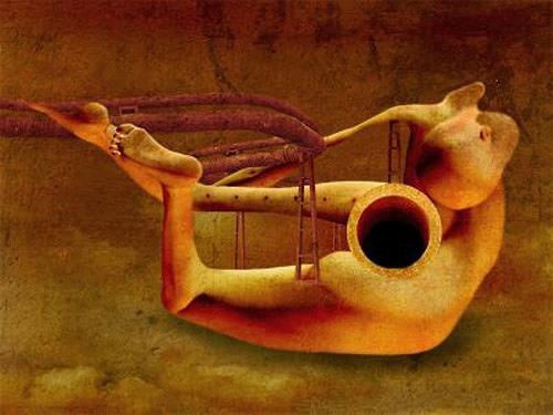Pascale Turrek, die flöte, Abstraktes, Abstraktes, Surrealismus