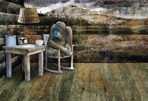 Pascale Turrek, Der Affe und das Schaf, Fantasie, Diverse Tiere, Surrealismus, Abstrakter Expressionismus