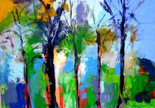 Leonore Zimmermann, am Waldrand, Diverse Landschaften, Abstrakte Kunst, Abstrakter Expressionismus